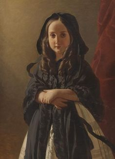 Princess Charlotte of Belgium by Winterhalter (future Empress Carlota of Mexico)  Sad little moppet.