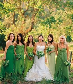 Let each bridesmaid pick a long strapless, in the same fabric but their own version of the wedding color.- EXACTLY!