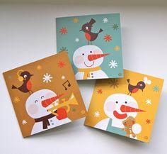Christmas card - Snowman by by BORA, via Flickr