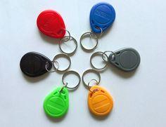 6 Color 100pcs/Lot RFID Tag Proximity ID Token Tag Key Ring 125Khz RFID Card Black Red Green Gray Yellow Blue