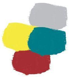 Bleu canard : Avec du jaune moutarde, du gris et du bordeaux pour un style récup' industrielle.