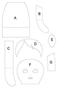Girl rag doll pattern: