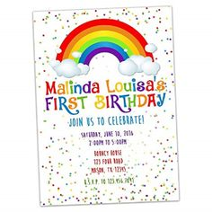 Rainbow Birthday Invitation Hd Images
