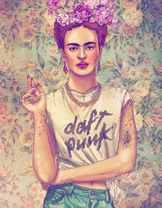 Frida Kahlo con remera de Daft Punk y otras ilustraciones del estilo del ilustrador chileno Fabián Ciraolo (vía The Jailbreak)