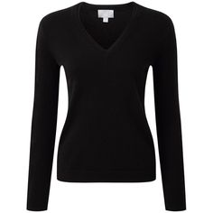 Pure Collection Jasmine Cashmere V Neck Jumper, Black ($180) ❤ liked on Polyvore featuring tops, sweaters, fitted v neck sweater, long sleeve v neck top, v neck tops, fitted sweater and jumpers sweaters