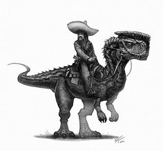 Living outside the law, he's one of the most feared bandits in the region. If you hear the cry of his Monolophosaurus...you better high tail it outta there. #oldwest #bandito #dinosaurs #dinosaur #monolophosaurus #characterdesign #creaturedesign #draw #conceptart #instagood #instaart #art #outlaw #illustration #drawing #gunslinger