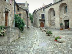 Castelnau-Pégayrols: Geplaveide straat, Saint-Michel, stenen huizen en florale decoraties van middeleeuwse dorp - France-Voyage.com