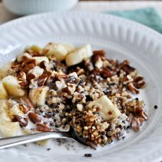 Coconut Milk Breakfast Quinoa Recipe Breakfast and Brunch with quinoa, lite coconut milk, vanilla extract, cinnamon, salt, bananas, toasted pecans
