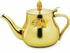 Konvička na čaj * zlatá se zlatou ozdobou s diamanty.