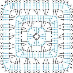 #crochet, several free patterns (written + chart) for granny square, #haken, gratis patroon (Engels, beschreven + schema) voor granny square, haakpatroon