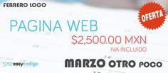 OFERTA DE PÁGINA WEB TODO el mes de Marzo 2017, solo utiliza el código promocional que incluimos en el enlace e inicia este mes estrenando página web. https://easycodigo.com/ofertas-de-paginas-web-marzo-2017/