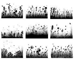 Wektor: meadow silhouettes