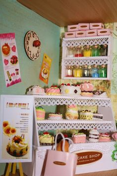 Miniature Cake shop Cake Shop, Miniature Houses, Charms, Miniatures, Holiday Decor, Shopping, Food, Home Decor, Patisserie