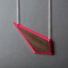 TIE NECKLACE // neon pink // long wooden by FRNCKjewellery on Etsy, €49.00