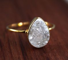 Druzy Ring  White Agate Druzy  Teardrop Shape  Stacking by OhKuol, $63.00