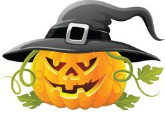 Large Transparent Halloween Pumpkin with Witch Hat Clipart