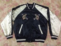 vintage Sukajan Satin dragon Jacket Japanese Souvenir Fighter Okinawa Yokosuka 80s Embroidery Japan  Made In Japan tag Neo-Sixx material polyester