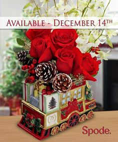 THE SPODE HOLIDAY EXPRESS FINAL -  Here comes the caboose, bringing beautiful flowers! Complete your set with this final collector's piece. A hand-painted, porcelain, collector's edition keepsake featuring a train design with gold trim and the famous Christmas tree motif and Blossom Flower Shops is one of the few exclusive florists carrying this item.