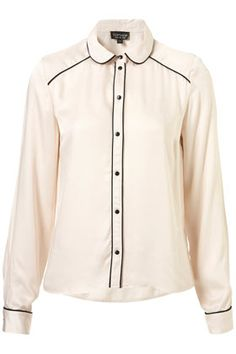 Piped Pyjama Style Shirt $72.00 topshop