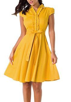 2f8e88fbd5257 Mounblun Women's 1950s Cap Sleeve Rockabilly Swing Vintage Party Shirt  Dresses Grey L at Amazon Women's