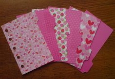 FILOFAX MINI Compatible DIVIDERS SET Sweet Pink #248