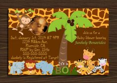 Safari Animals Baby Shower Invitation It's a Boy. by NhelyDesigns, $10.00