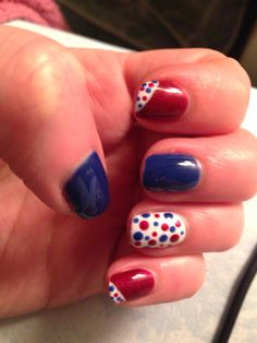 Red blue white dots
