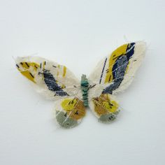 Fabric butterfly brooch- WHITE/YELLOW. £46.00, via Etsy.