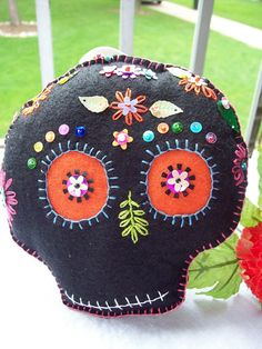Day of the dead pillow- im gonna have to make one of these