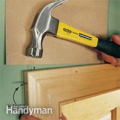 Interior Trim Work Basics All the trim basics-start to finish-plus a clever way to get those miters tight Door Molding, Moldings And Trim, Crown Moldings, Custom Woodworking, Woodworking Tips, Woodworking Inspiration, Work Basics, Interior Door Trim, Trim Carpentry