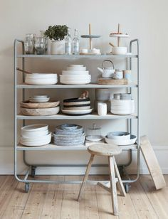 Kitchen stand with dinnerware//