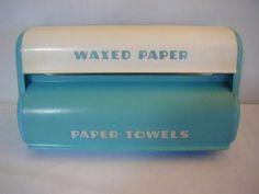 Lovely Vintage 1950s Lustro Ware Aqua Paper Towel & Wax Paper Holder plastic
