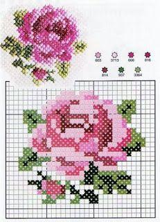 Схема вышивки крестом розочек маленьких