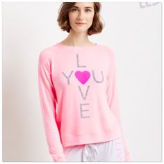 "🆕 Pink ""Love You"" sweater top Pink love you sweater top. Size S. Brand new. Very soft and cozy!! Similar to Wildfox jumpers. 💗 Tops"