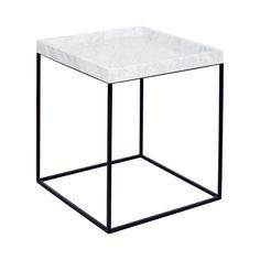 Modern Designer White Marble Tray Side Table- Black Steel Base/Carrara Marble