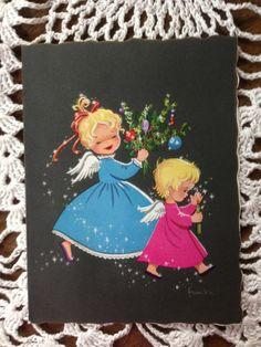 C675 Vintage used Christmas Greeting Card by artist by jarysstuff