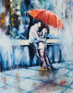 "Saatchi Art Artist Kovacs Anna Brigitta; Painting, ""Love is in the rain"" #art"