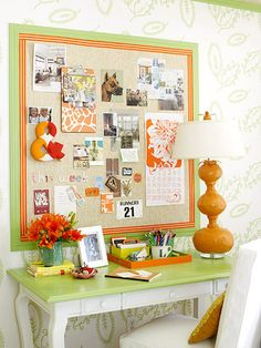 I like the ribbon trim around this pin board.