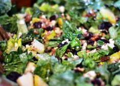 The Perfect Winter Chopped Salad - romaine, pears, bacon, pecans, feta, cranberries - dress with poppy seed + balsamic mixed together