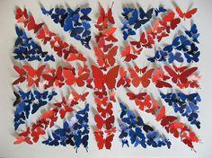 Idea banderas con mariposas de colores   -   Idea flags with colorful butterflies