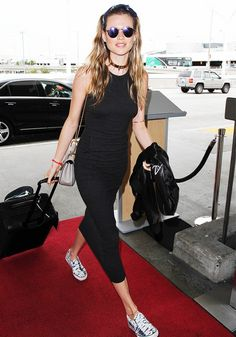 Hair bandana, maxi n comfy vans !! The Comfy Shoes Celebs Wear to the Airport via @WhoWhatWear
