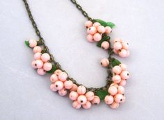 Vintage 40s Pink Cherry Blossom Green Leaves Celluloid Novelty Charm Necklace on Etsy, $125.00