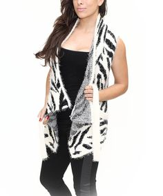 Another great find on #zulily! Beige Zebra Sidetail Open Vest by Bacci #zulilyfinds