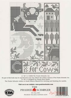 prairie schooler c is for cow Cross Stitch Alphabet, Cross Stitch Samplers, Cross Stitching, Cross Stitch Embroidery, Just Cross Stitch, Cross Stitch Charts, Cross Stitch Designs, Cross Stitch Patterns, Blackwork