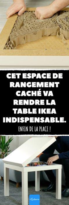 Cet espace de rangement caché va rendre la table IKEA indispensable. Enfin de la place ! #bricolage #ikea #table #salon #espace #place Petite Table Ikea, Ikea Table, Deco Table, Entryway Tables, Sweet Home, Furniture, Home Decor, Gardening, Recycling