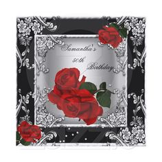 Elegant 50th Birthday Party Red Rose Silver Invitations from Zazzle.com/zizzago