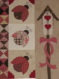 lady birds,no pattern but I think I can--cute spring/summer wall hanging
