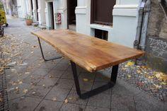 SLAB OAK TABLE, Large Solid Oak Tabletop on Steel U-Frame Legs, 12 Person Rustic…