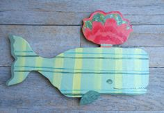 Plaid Whale Wooden Wall Sign by GoldfishMarmalade on Etsy, $28.00