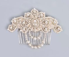 Peineta Para Novia Lucrezia Pearl And Crystal Bridal Comb Hair Jewelry Vintage Style Ivory Silver